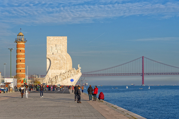 Belém Lighthouse, Monument of the Discoveries, and 25th of April Bridge